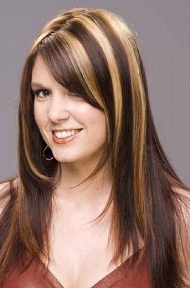 Dark Brown Hair With Highlights And Bangs Blonde For Long