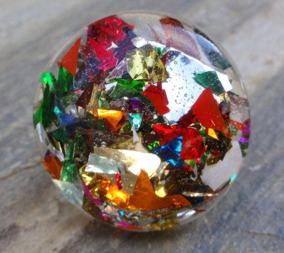 Rainbow Glitter Confetti Resin Bubble Statement by GlitterFusion