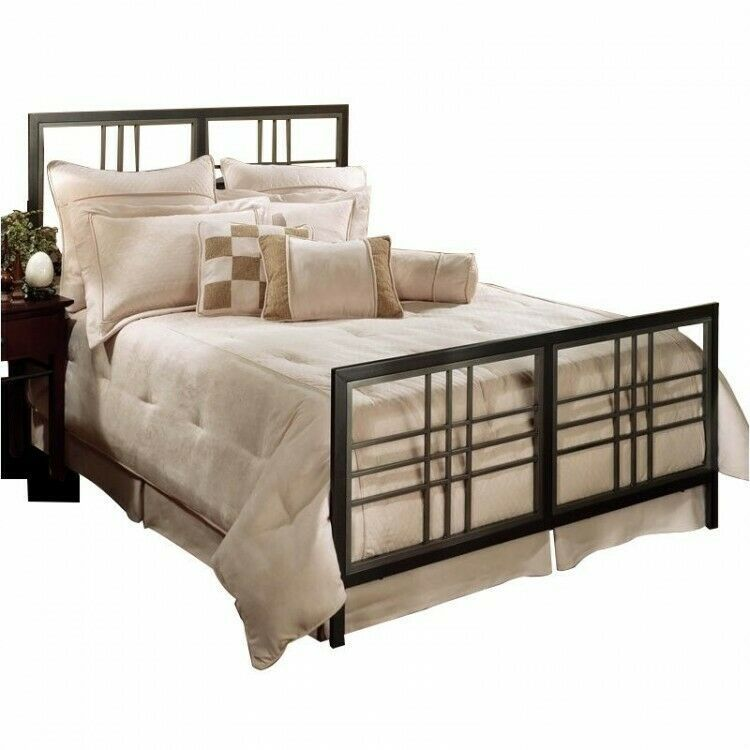 Details About King Bed Gray Metal Bedframe Bedstead Headboard