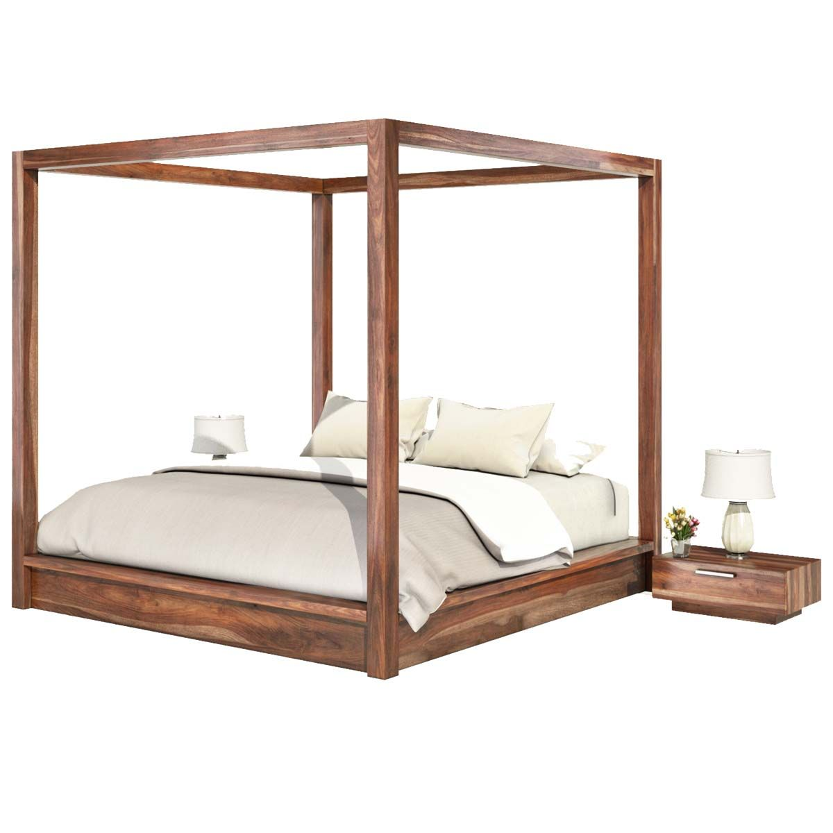 Hampshire Rustic Solid Wood Queen Size Canopy Bed Frame Canopy