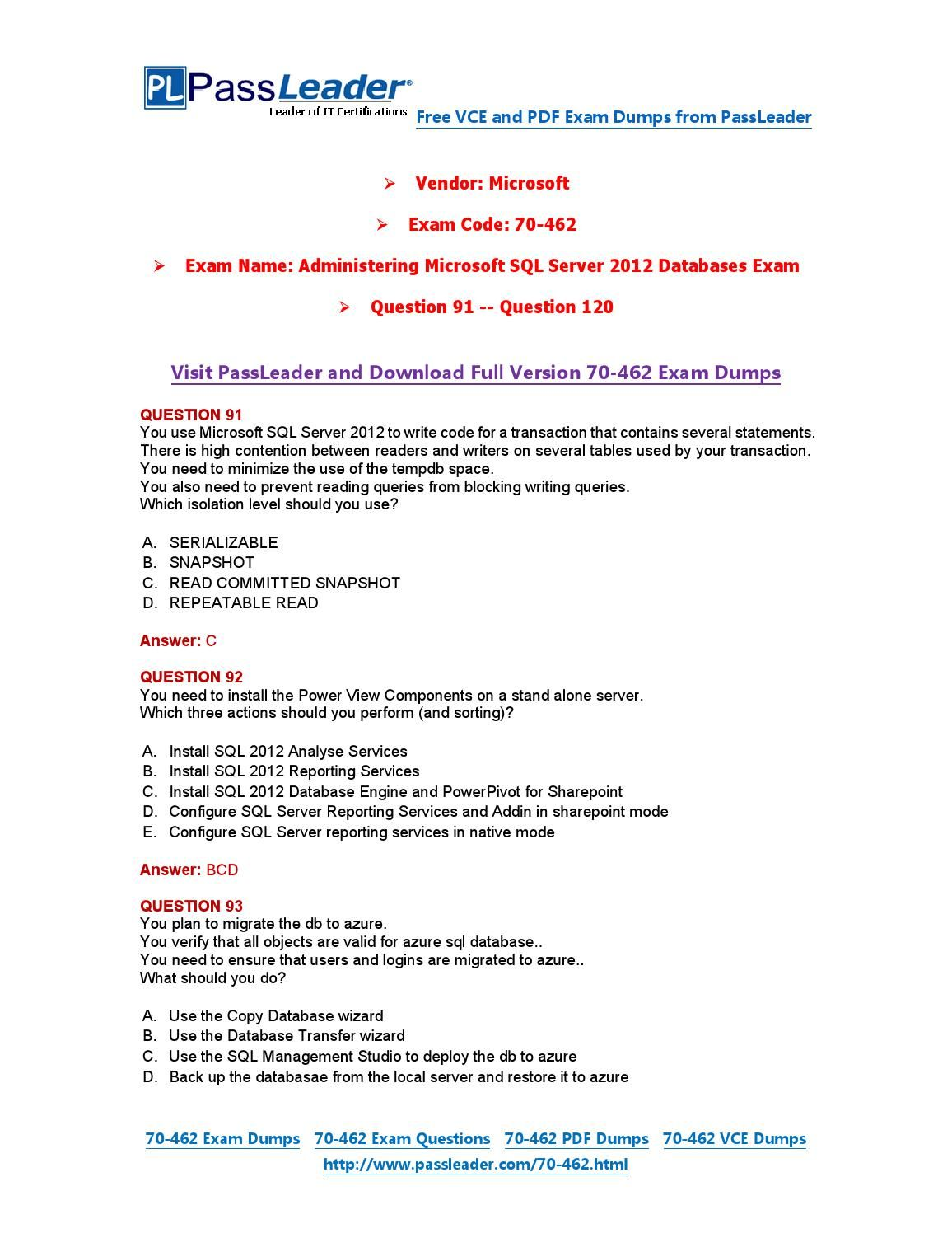 70 462 Exam Dumps With Pdf And Vce Download 91 120 70 462 Exam