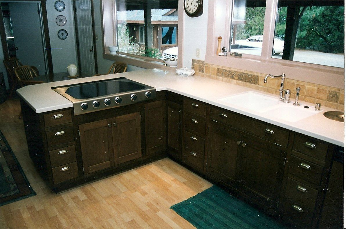 black color staining oak kitchen cabinets white countertop steel rh pinterest com au