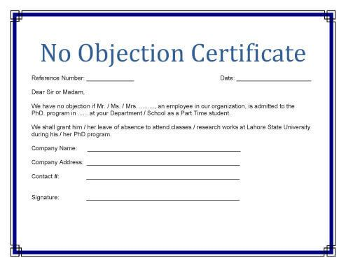 image result for no objection certificate format example