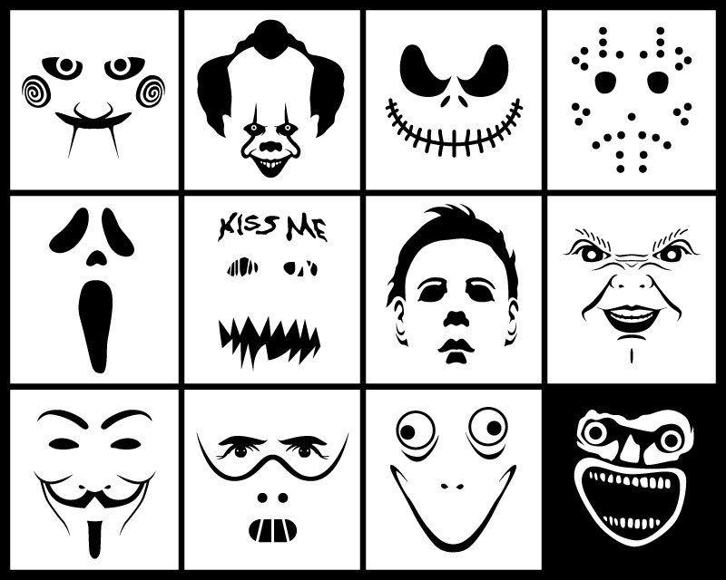 Halloween Horror Movie Faces SVG DXF Pack Digital Download