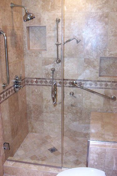 Shower With Seat | Beautiful Travertine Walk In Shower With Seat Detail  Photos