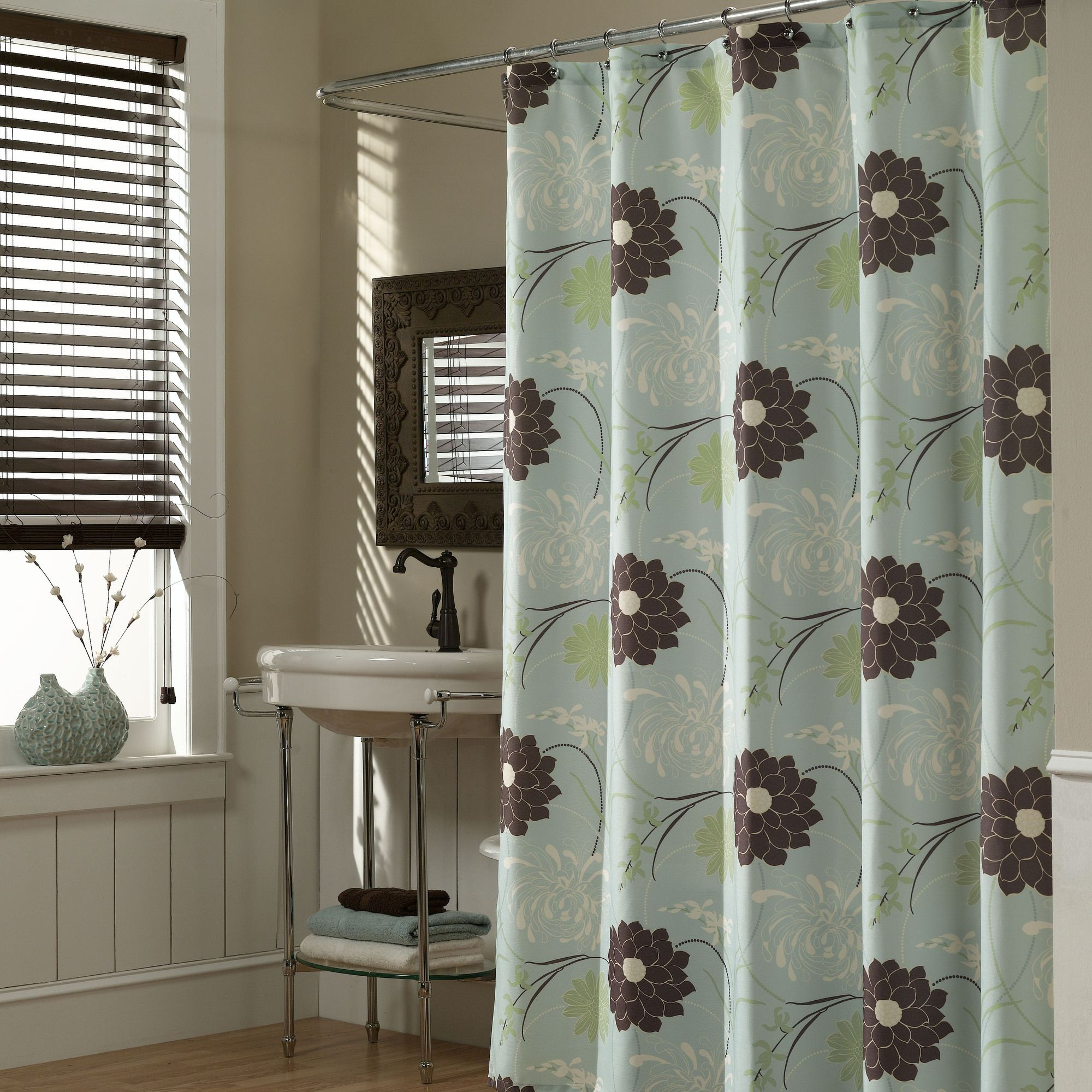 Asian Inspired Floral Shower Curtain With Images Fabric Shower