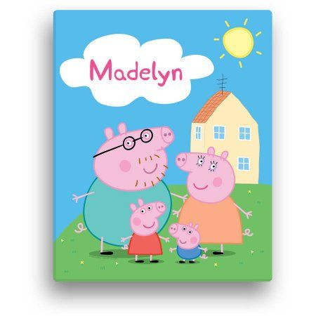 personalized peppa pig family 11 inch x 14 inch canvas wall art rh pinterest com