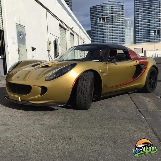 Lotus Iron Man Wrap In Avery Dennison Gold Metallic Arlon Red Aluminum Carbon Fiber Installed By Las Vegas Car Wraps Lasvegascar Car Wrap Carbon Fiber Arlon