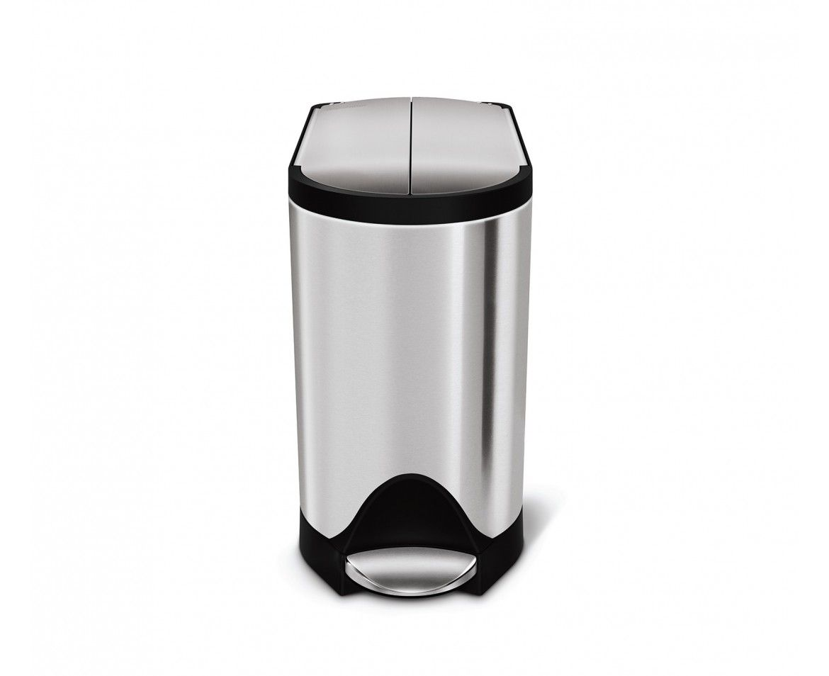 Simplehuman 10l Stainless Steel Butterfly Step Trash Can Simplehuman Trash Can Brushed Stainless Steel