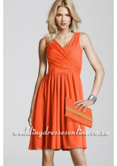 Amazing Bright Orange Modern Wedding Guest Dresses
