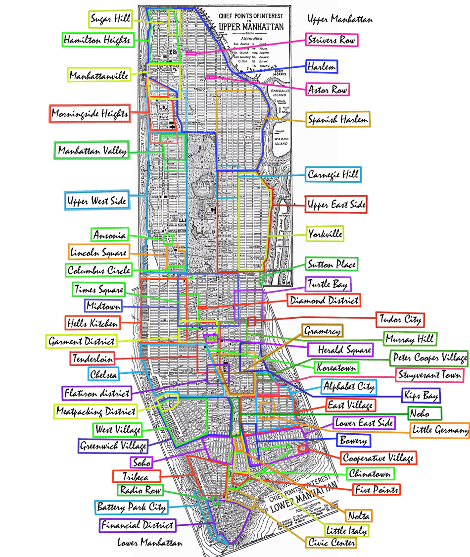 Manhattan Neighborhoods Mapsofnet New York City Home - New york map city