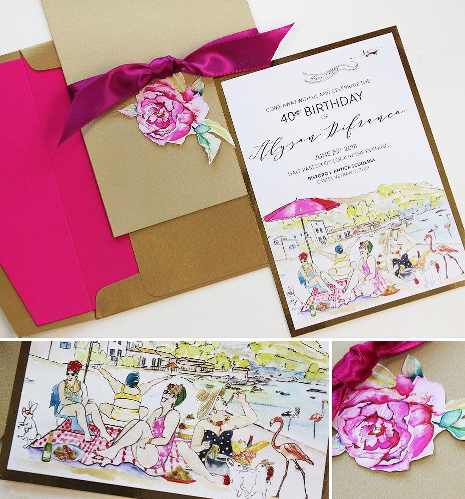 Alyson D. - Custom Illustrated Fortieth Birthday Invitation ...