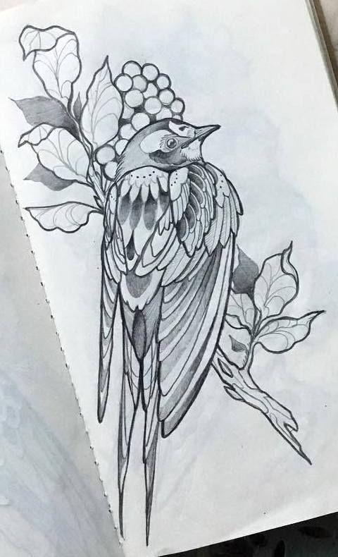 Bird Tattoo Design Animaltattoos Flower Tattoo Drawings Birds Tattoo Bird Drawings