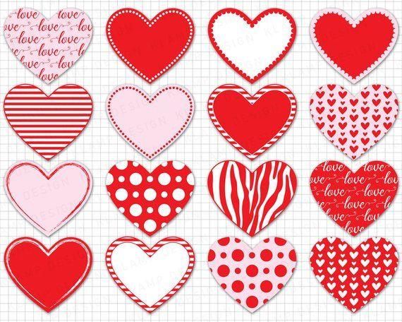 Heart Clipart Digital Heart Clipart Valentine Etsy Heart Clip Art Heart Graphics Valentine Clipart
