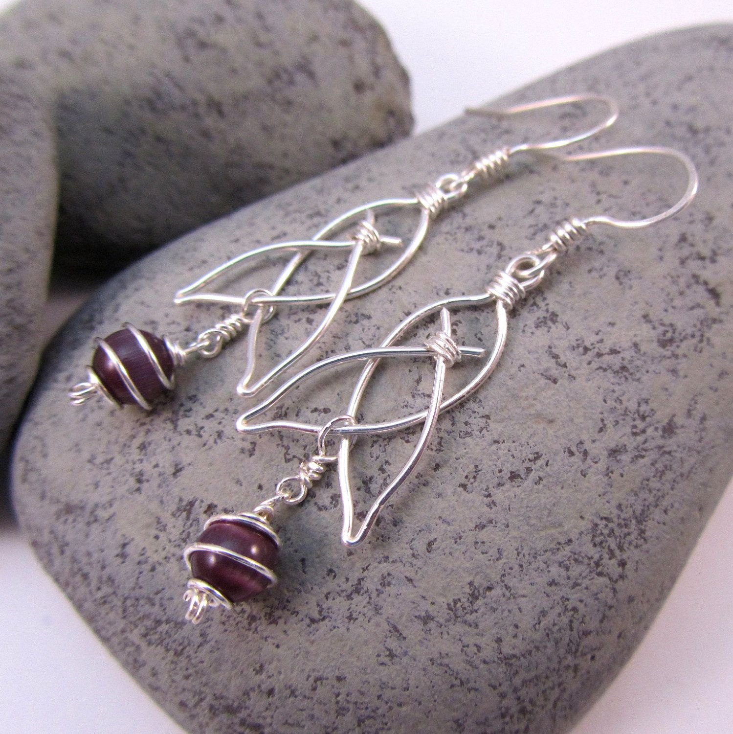 Celtic Knot Earrings - Choice of Cat\'s Eye Glass - Silver Wire ...