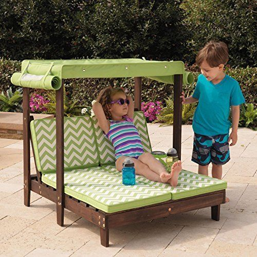 Good KidKraft Outdoor Double Chaise Lounge Chair With Canopy Lounges Patio  Garden #KidKraft