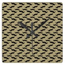 Wiggling Mustaches Tan and Black Square Wallclock