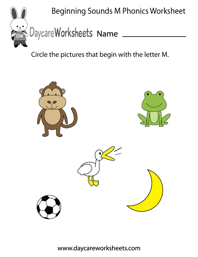 Worksheet Worksheets For Beginning Sounds 1000 images about 3daycare alphabet sheets on pinterest free beginning sounds letter m phonics worksheet for preschool