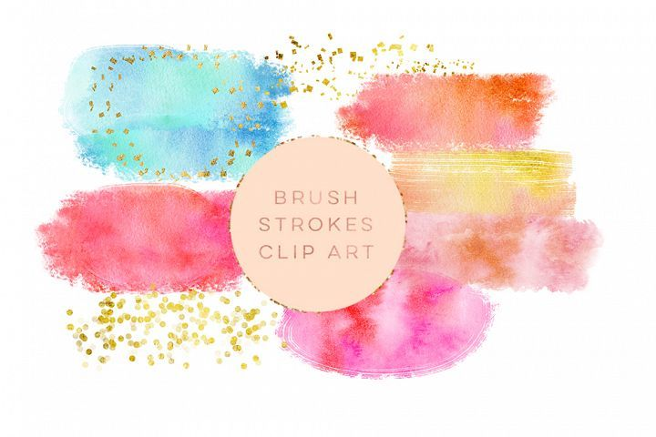 Watercolor Glitter Brushes Stroke Watercolor Paint Splotch