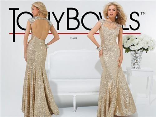 Gold Tony Bowls, strapless prom, bridesmaid or school ball dresses ...