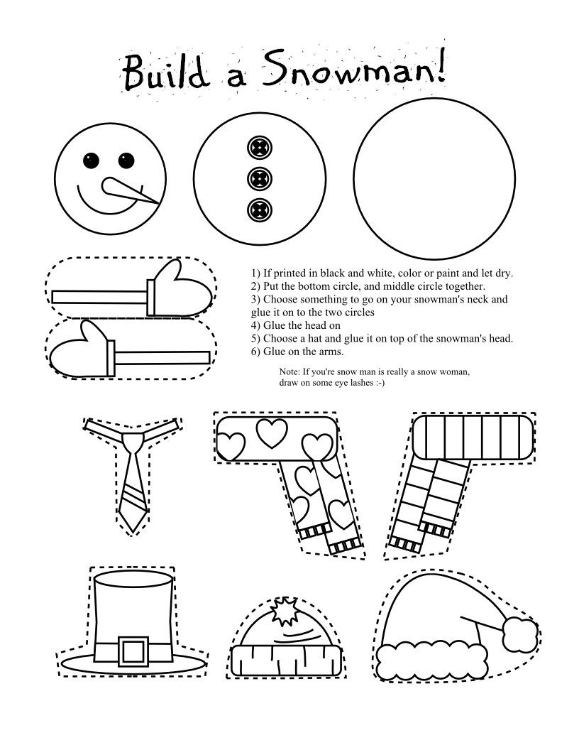 printable snowman coloring page craft - Snowman Coloring Pages Printable