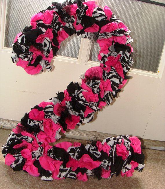Zebra Pink Birthday Party Number Wreath  by CharleeRoseDesigns, $30.00