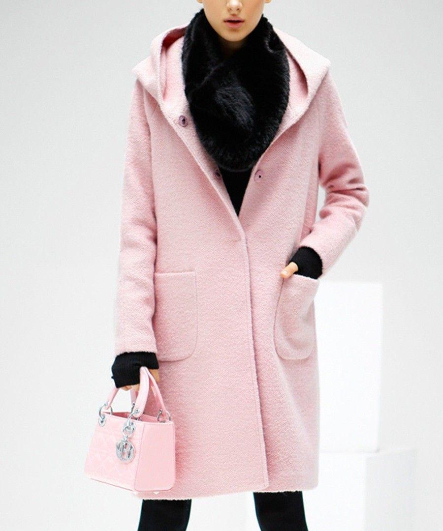 Pink long-sleeve wool-blend hooded coat Sale - COCOBELLA | Fashion ...