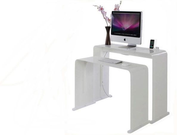 Minimalist Desk In Shiny White With Images Furniture For Small Spaces Desks For Small Spaces Computer Desk Design