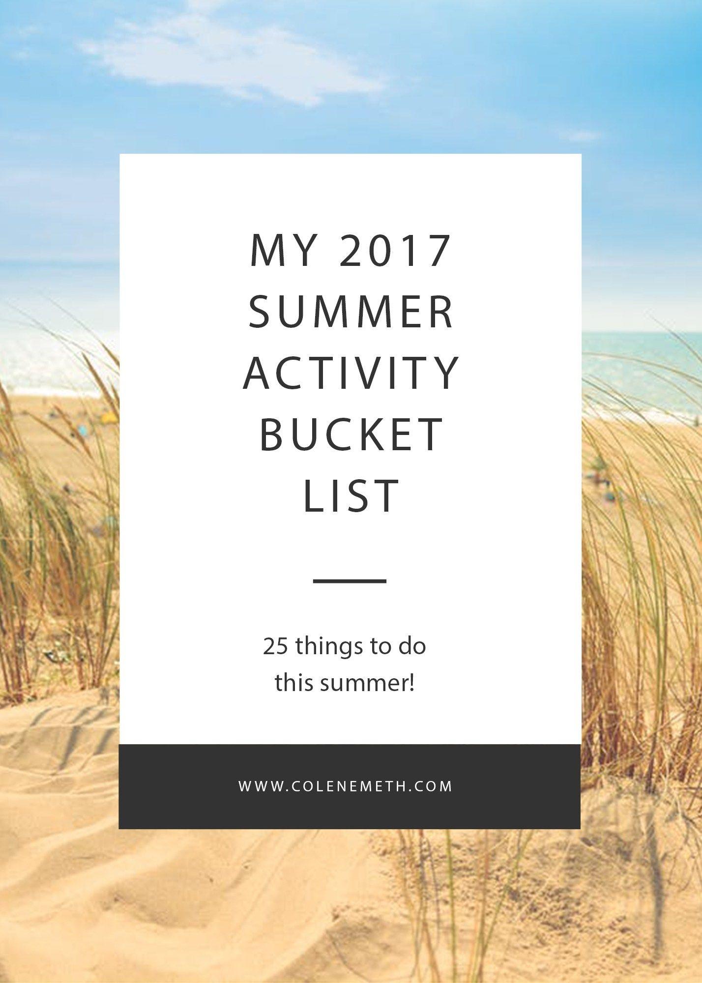 My Summer Activity Bucket List