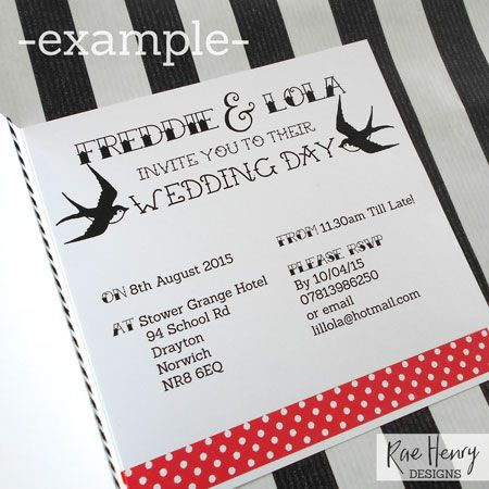 Rockabilly Swallows Tattoo Wedding Invitations From Rae Henry Designs.  Personalised Handmade Luxury Invitation Cards.