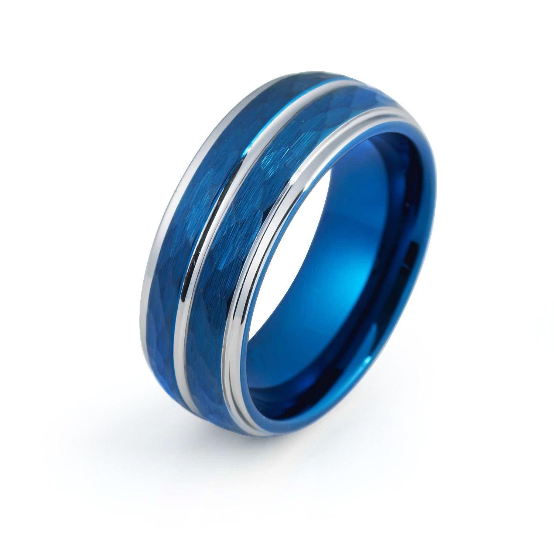 Blue Wedding Band Tungsten Carbide Mens Wedding Band Man