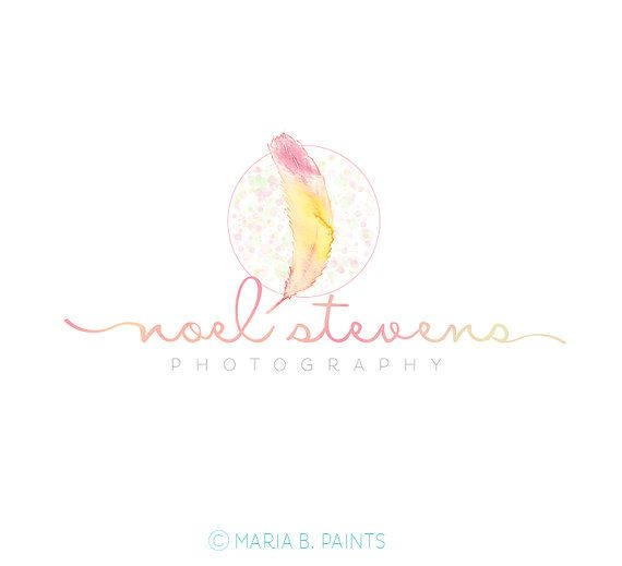 Pre made photography watermark business logo by mariabpaints items similar to watercolor logo watermark business logo feather pen drawn artistic unique nature simple newborn small business photography on colourmoves