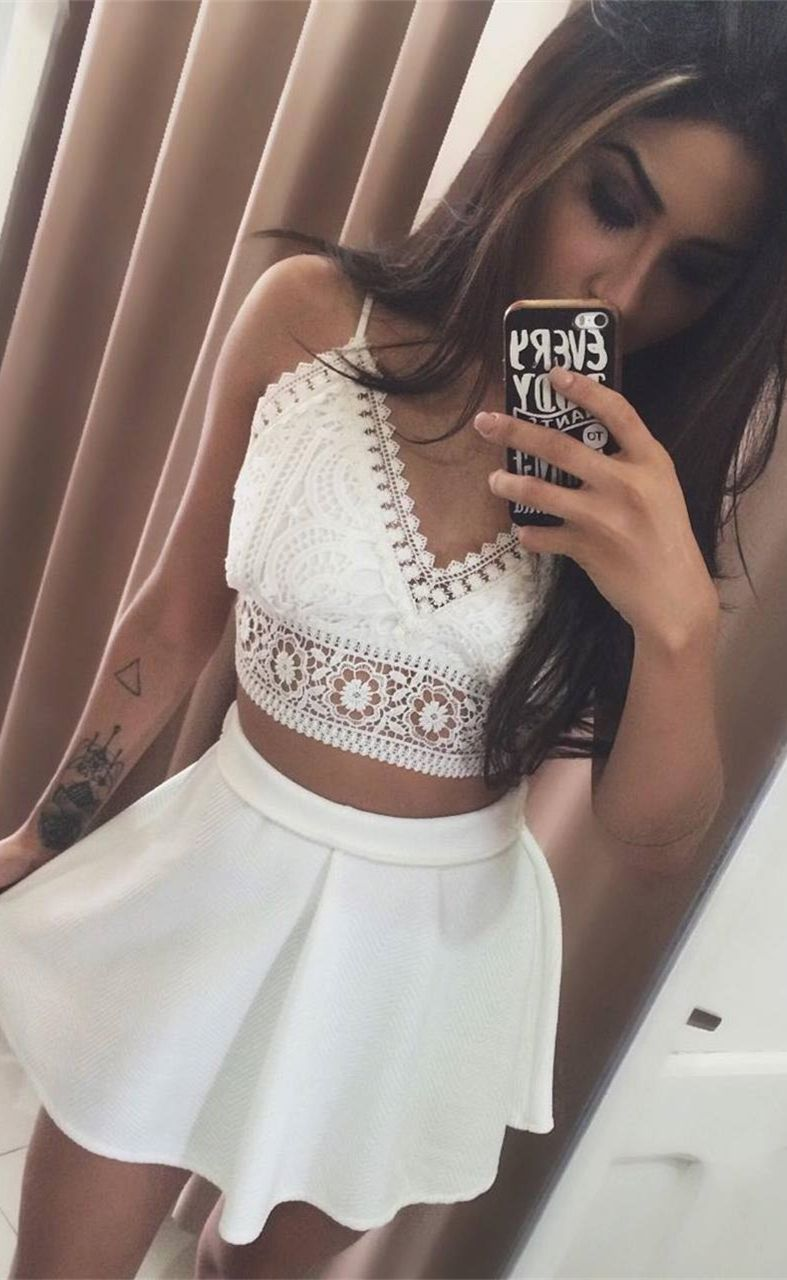 Two piece spaghetti straps short white homecoming dress with lace