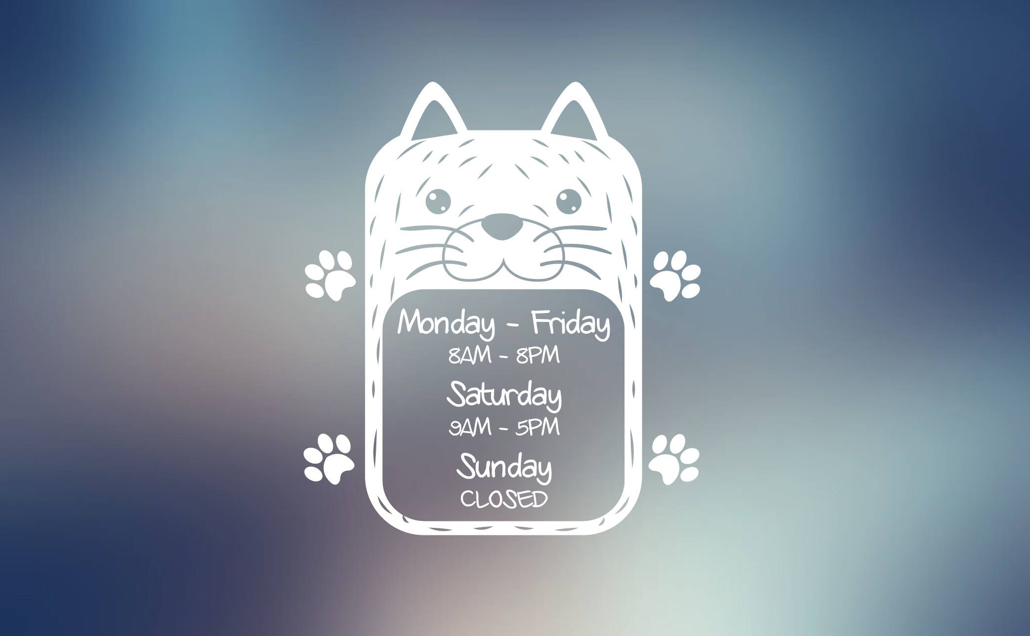 Custom Store Hours Business Hours Opening Hours Work Hours Decal For Your Pet Store Vererinary Clinic Dog Cat Grooming Storefront Pet Store Cat Grooming Dog Cat