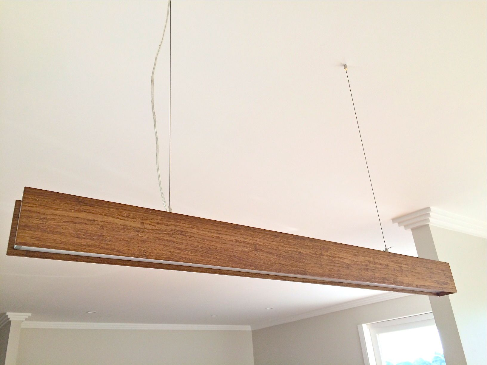 Product Code: Beam Timber Pendant 1.2m Description: Our Timber Beam pendant  light is