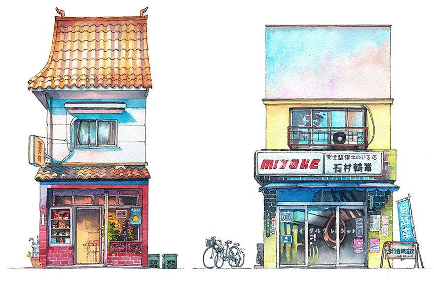 Des Aquarelles De Boutiques De Tokyo Par Mateusz Urbanowicz Avec
