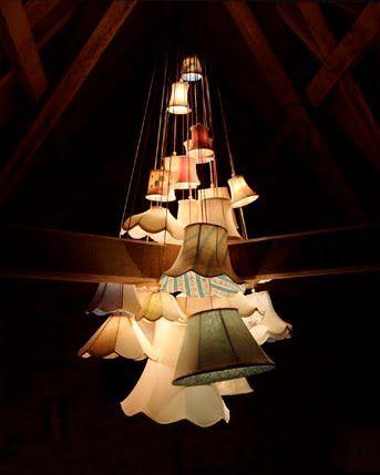 //JamesPlumb // lamp-shade chandeliers