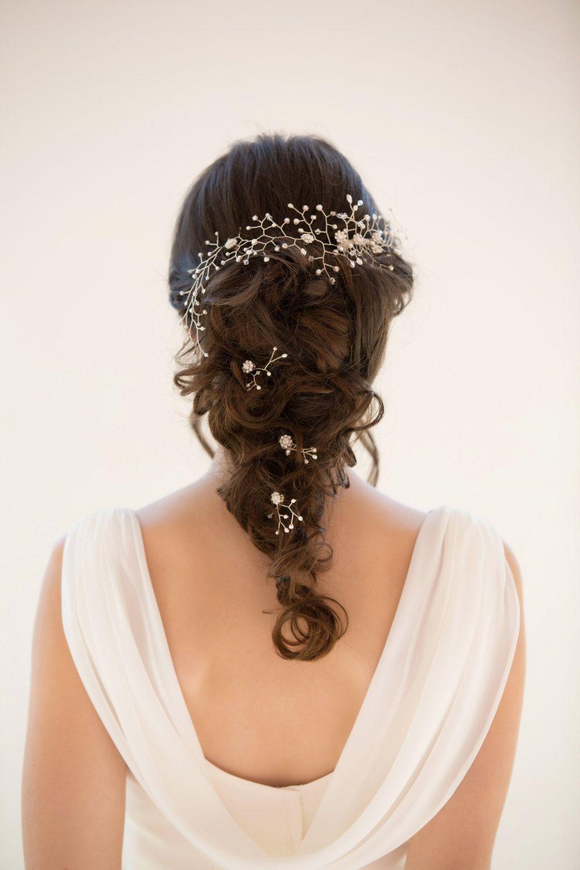 Wedding hair vine, Pearl hair piece, crystal, Gold or ...