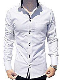 casual shirts for men,white cotton trendy shirt,long sleeves,slim ...