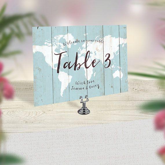 Wedding Table Numbers, Travel Theme Wedding, World Map