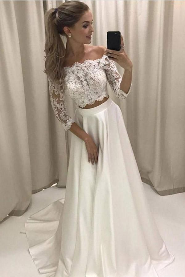 Two Piece A Line Brush Train 3 4 Sleeve Lace Wedding Dress Beach