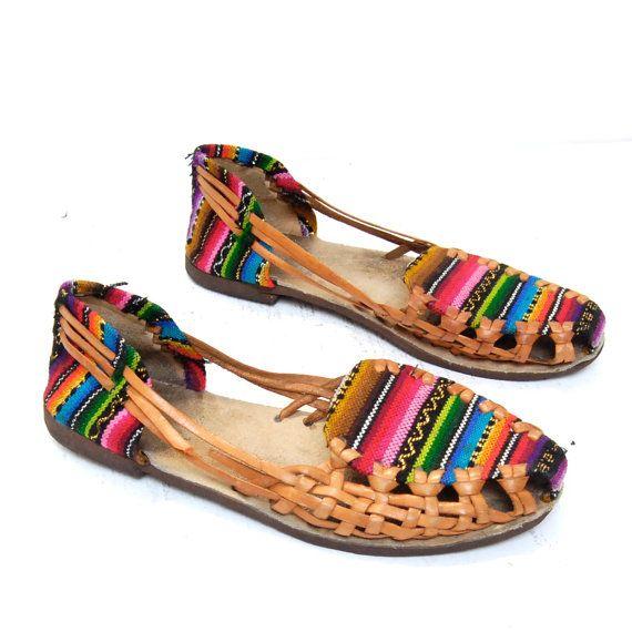 bf62c6e86 GUATEMALAN 80s woven leather ethnic HUARACHE sandals