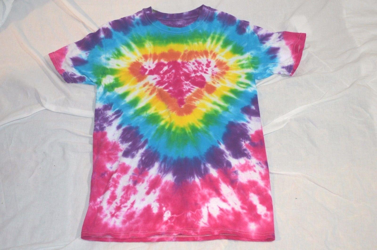 Tie Dye T Shirt Hand Dyed Tie Dye T Shirt Heart Boho Hippy Women's S, M Men's S Hippy Boho