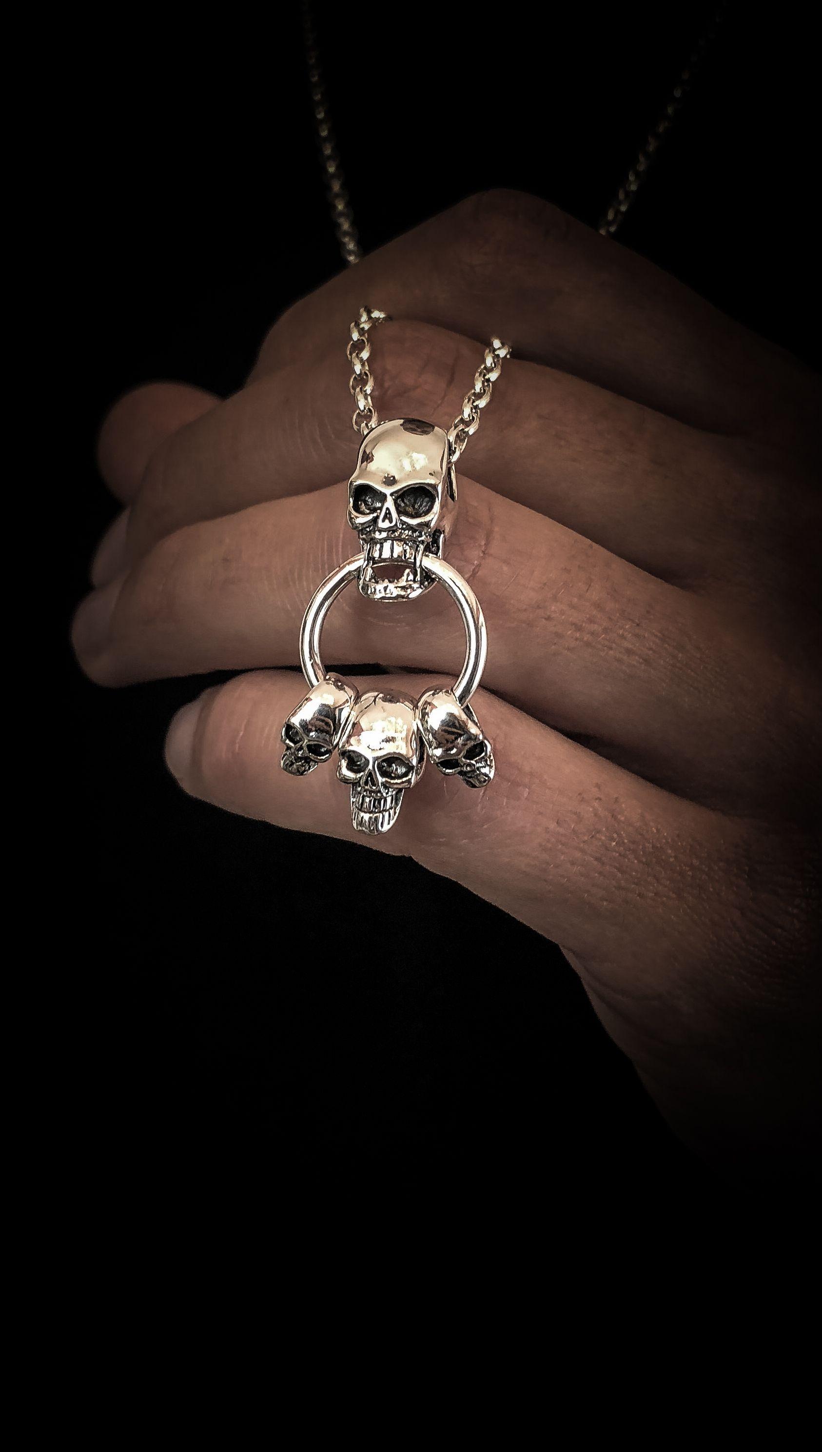 Mens skull door knocker necklace sterling silver pendant and