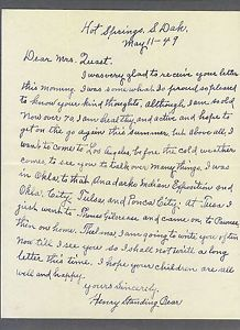 Chief Henry Standing Bear | Chief Henry Standing Bear 1949 Signed Letter Crazy Horse Memorial ...