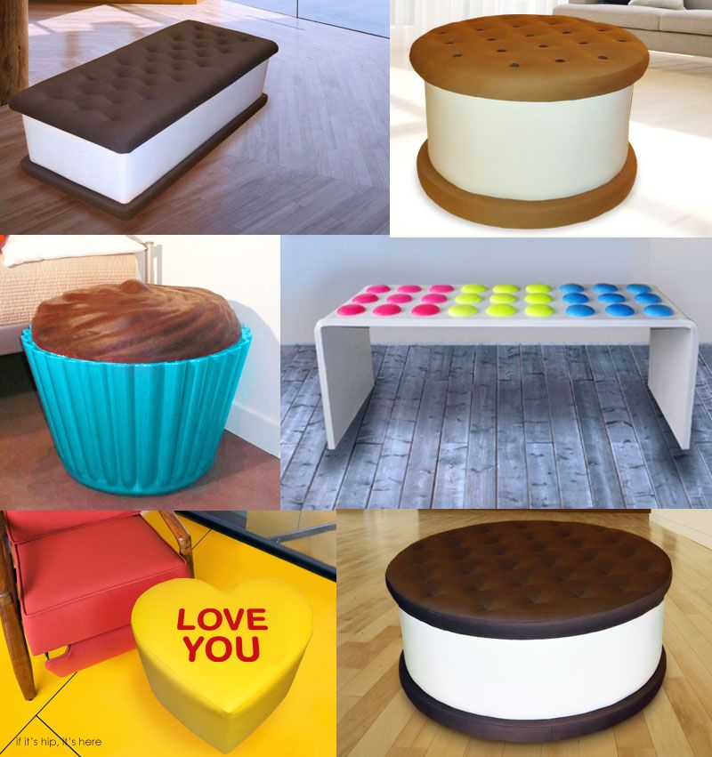Ice cream, cookie and candy benches, ottomans and seats from Jellio ...