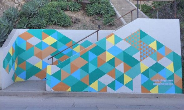 Eastside Eye for the Los Feliz Ledger: A colorful mural project now decorates a set of Silver Lake's hidden street-to-street stairs.
