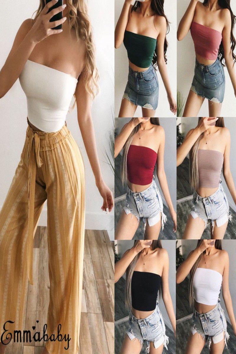 5 99 Us Women Fashion Elastic Tube Tops Blouse Strapless Bandeau