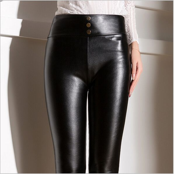 538473549e0d12 Women Leather trousers PU pants hot women casual leather pants Tights Black  women leather trousers