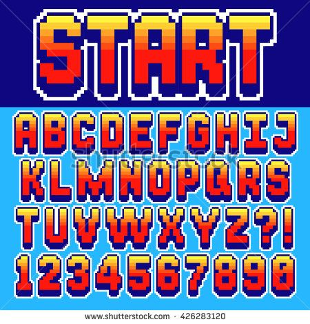 Pixel retro font Video computer game design 8 bit letters and